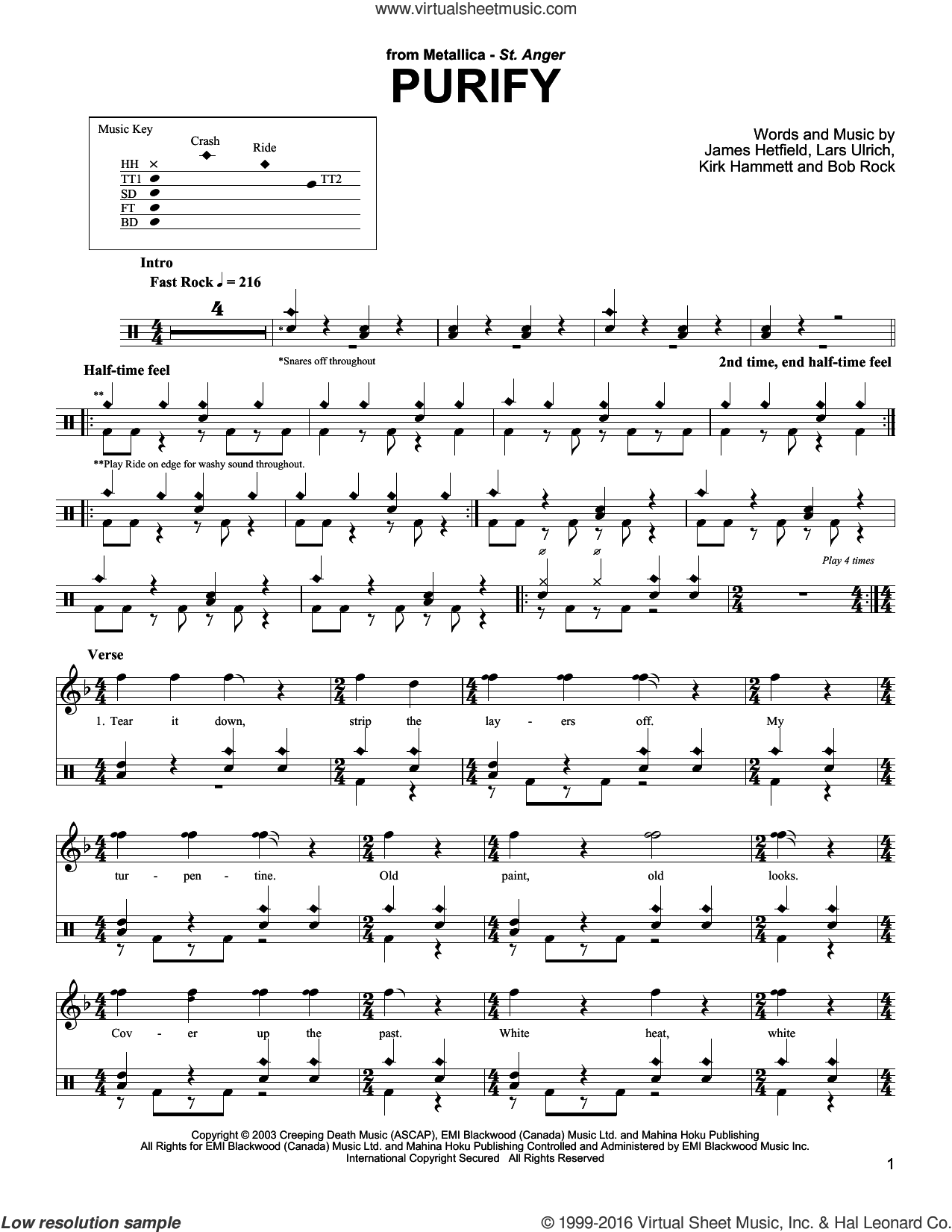Purify sheet music for drums by Metallica. Score Image Preview.