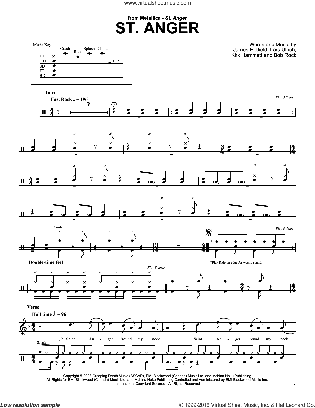 St. Anger sheet music for drums by Lars Ulrich, Bob Rock and James Hetfield. Score Image Preview.