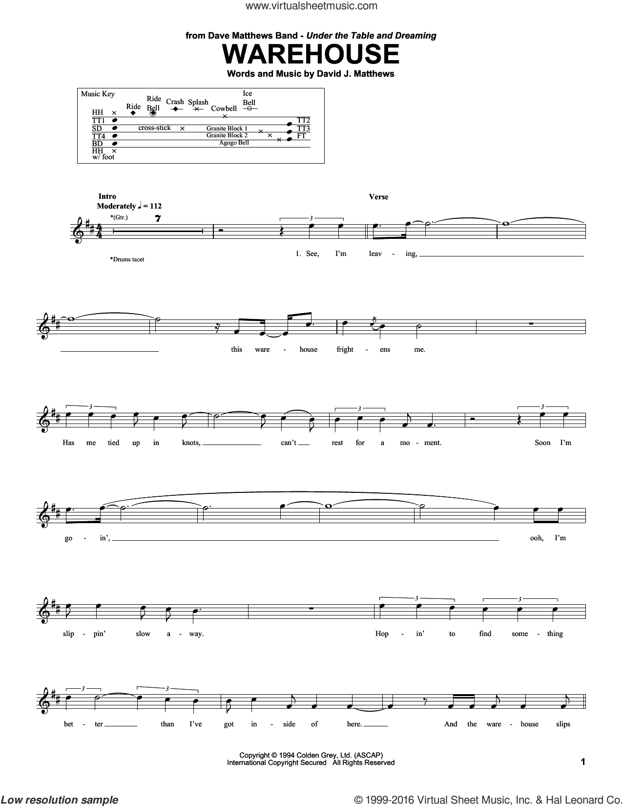 Warehouse sheet music for drums by Dave Matthews Band, intermediate. Score Image Preview.