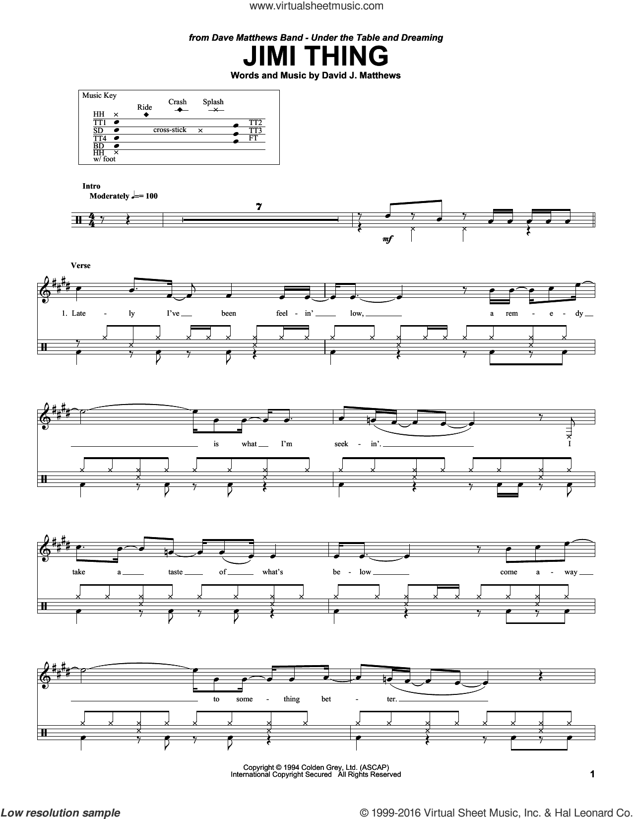Jimi Thing sheet music for drums by Dave Matthews Band, intermediate skill level