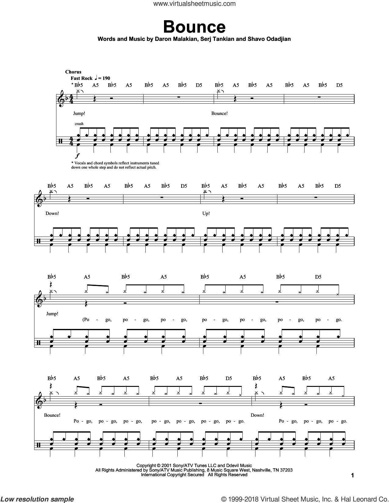 Bounce sheet music for drums by System Of A Down, Daron Malakian, Serj Tankian and Shavo Odadjian, intermediate skill level