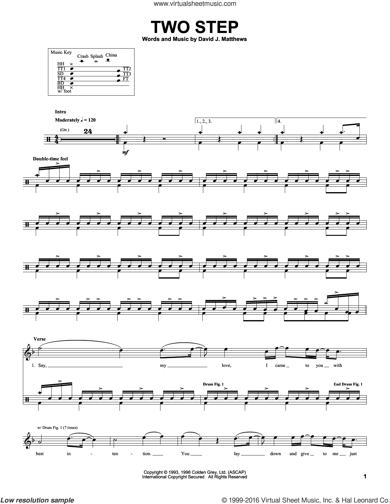 Two Step sheet music for drums by Dave Matthews Band. Score Image Preview.
