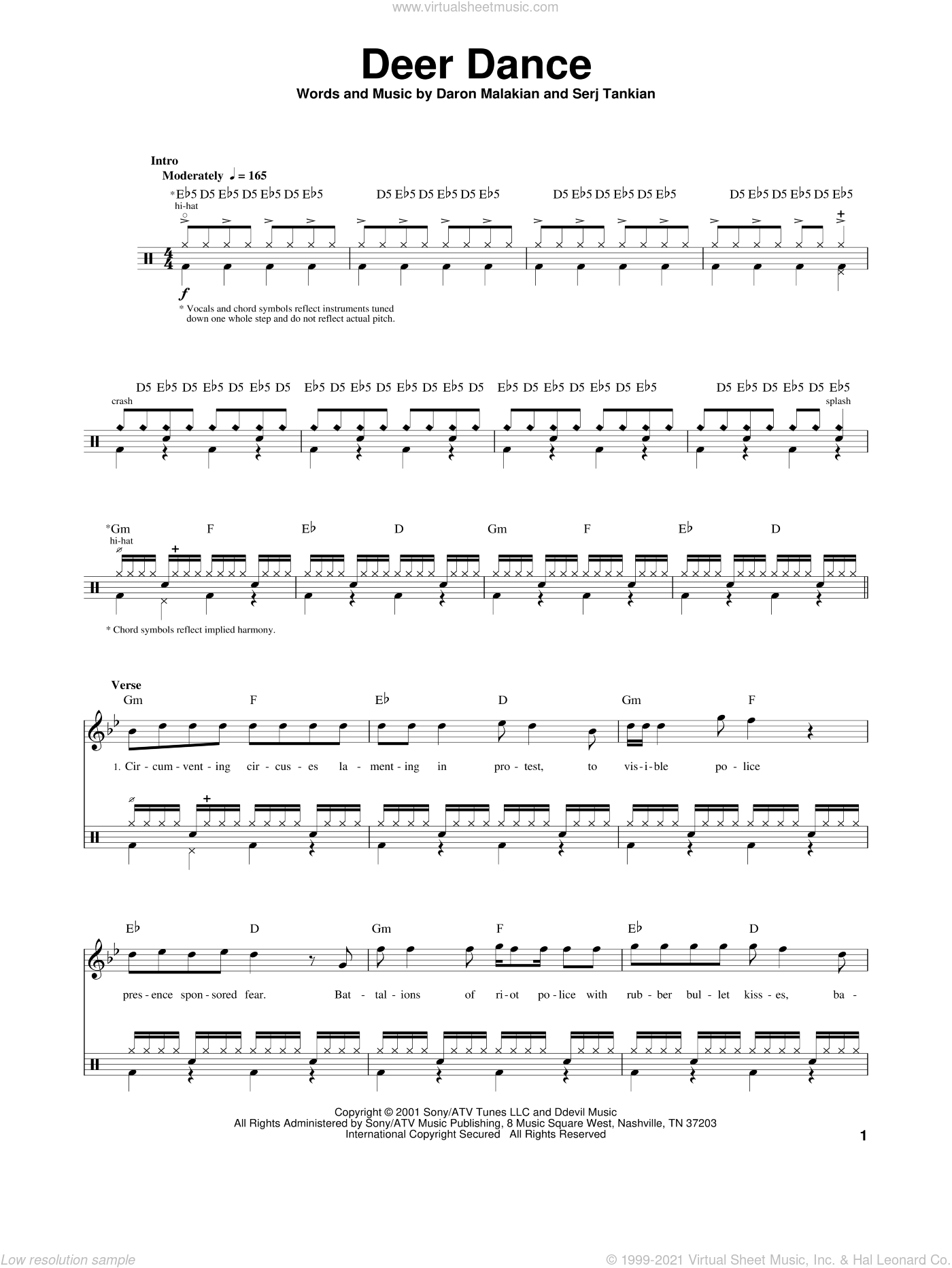 Deer Dance sheet music for drums by System Of A Down, Daron Malakian and Serj Tankian, intermediate skill level