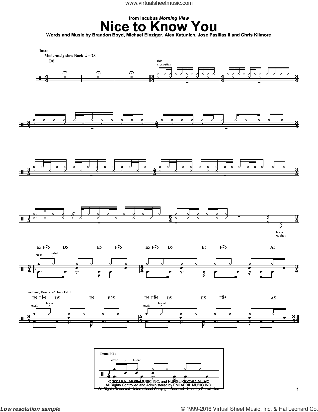 Nice To Know You sheet music for drums by Michael Einziger, Incubus, Alex Katunich and Chris Kilmore. Score Image Preview.