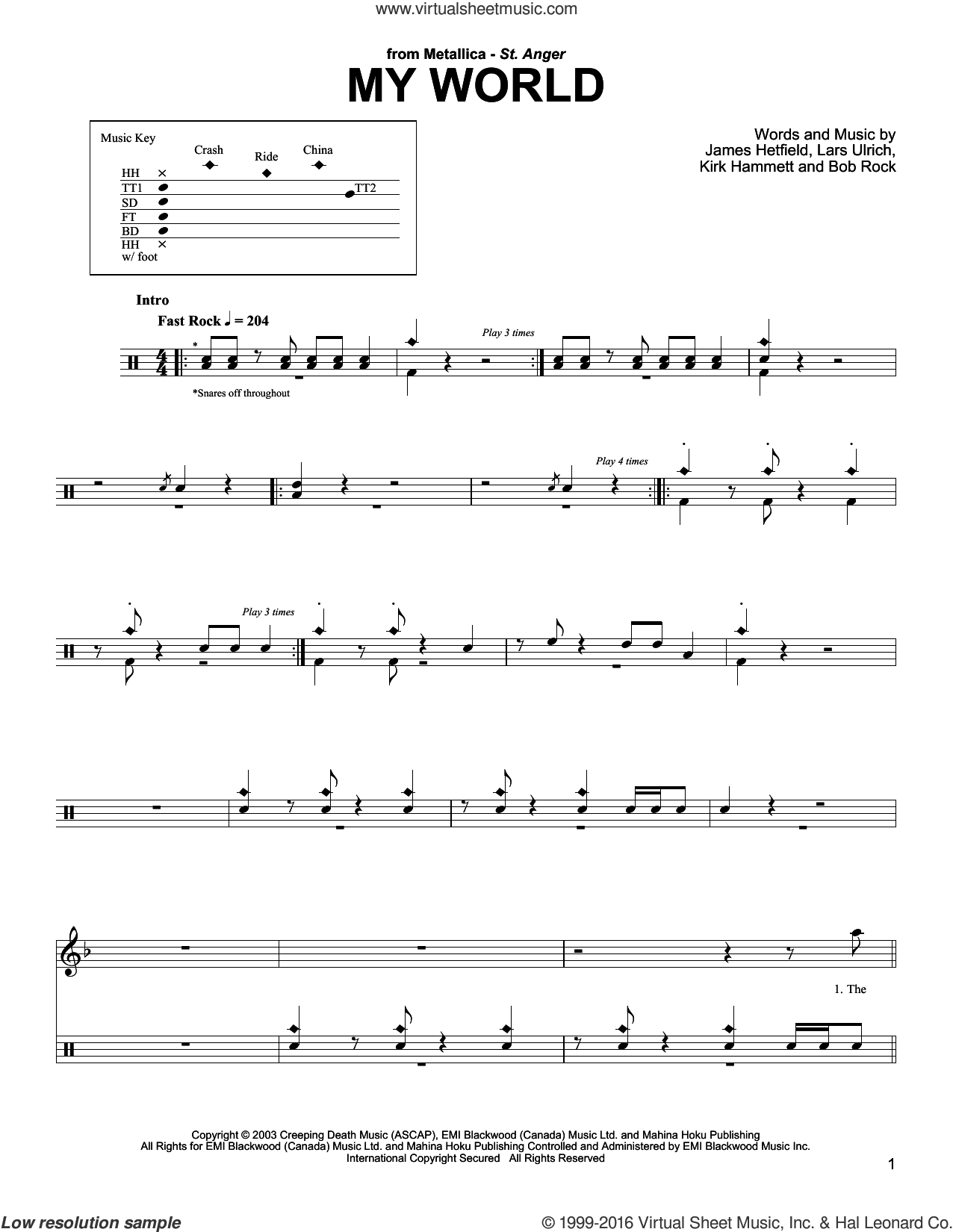 My World sheet music for drums by Metallica, intermediate drums. Score Image Preview.