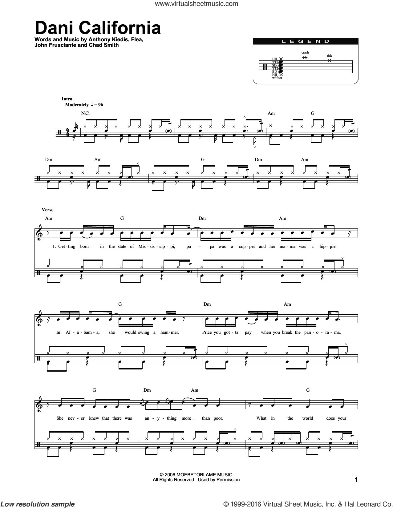 Dani California sheet music for drums by Red Hot Chili Peppers, intermediate. Score Image Preview.