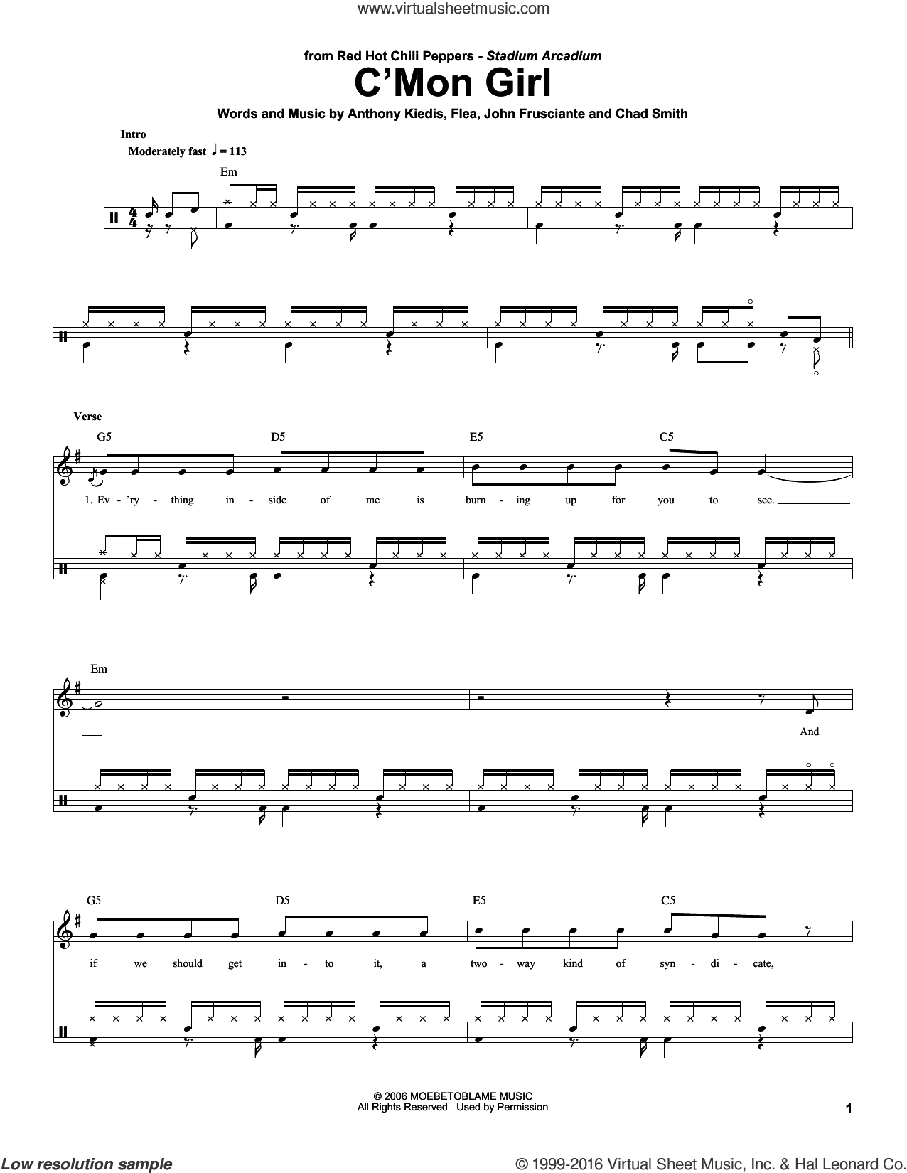 C'Mon Girl sheet music for drums by Red Hot Chili Peppers, Anthony Kiedis, Chad Smith, Flea and John Frusciante, intermediate skill level