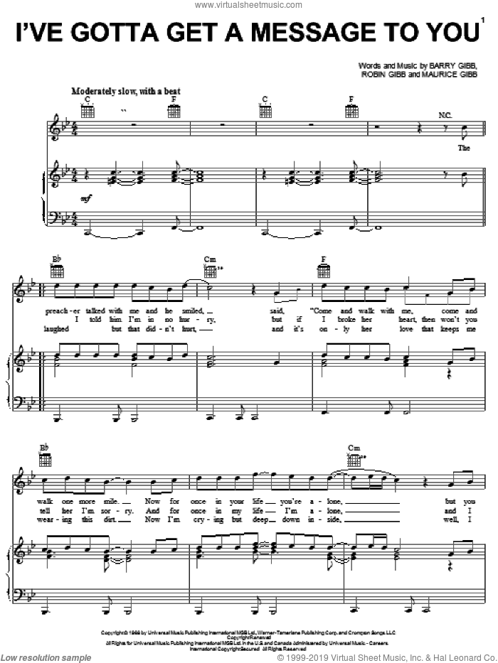 I've Gotta Get A Message To You sheet music for voice, piano or guitar by Robin Gibb