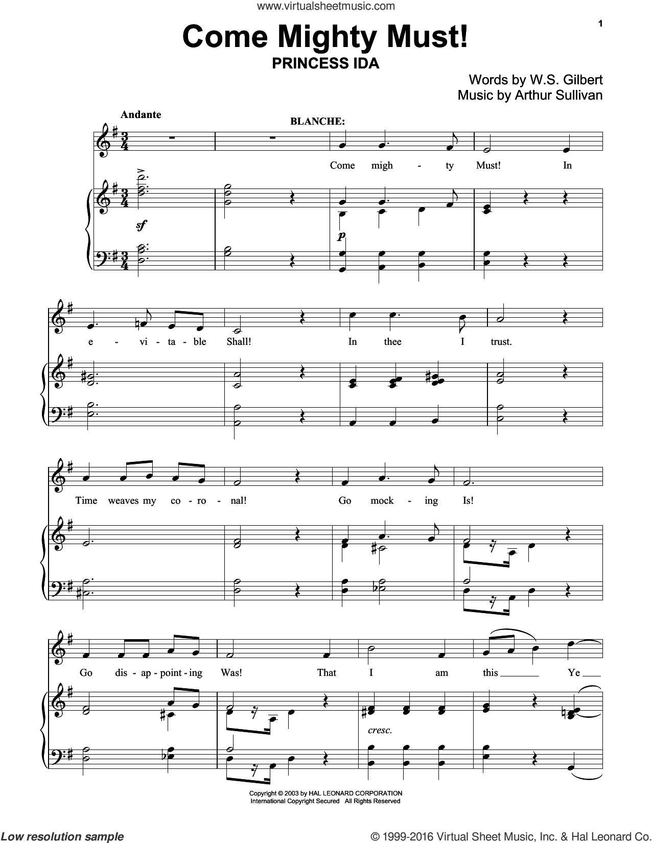 Come Mighty Must! sheet music for piano solo by Gilbert & Sullivan, Richard Walters, Arthur Sullivan and William S. Gilbert, classical score, intermediate skill level