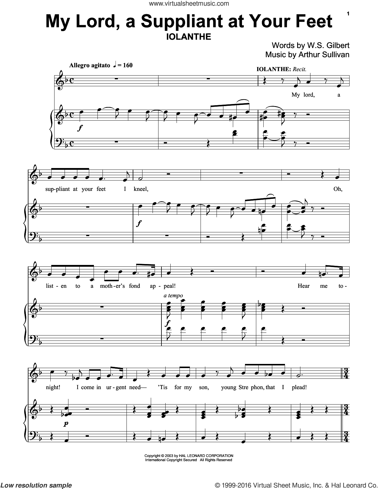 My Lord, A Suppliant At Your Feet sheet music for piano solo by Gilbert & Sullivan, Richard Walters, Arthur Sullivan and William S. Gilbert. Score Image Preview.