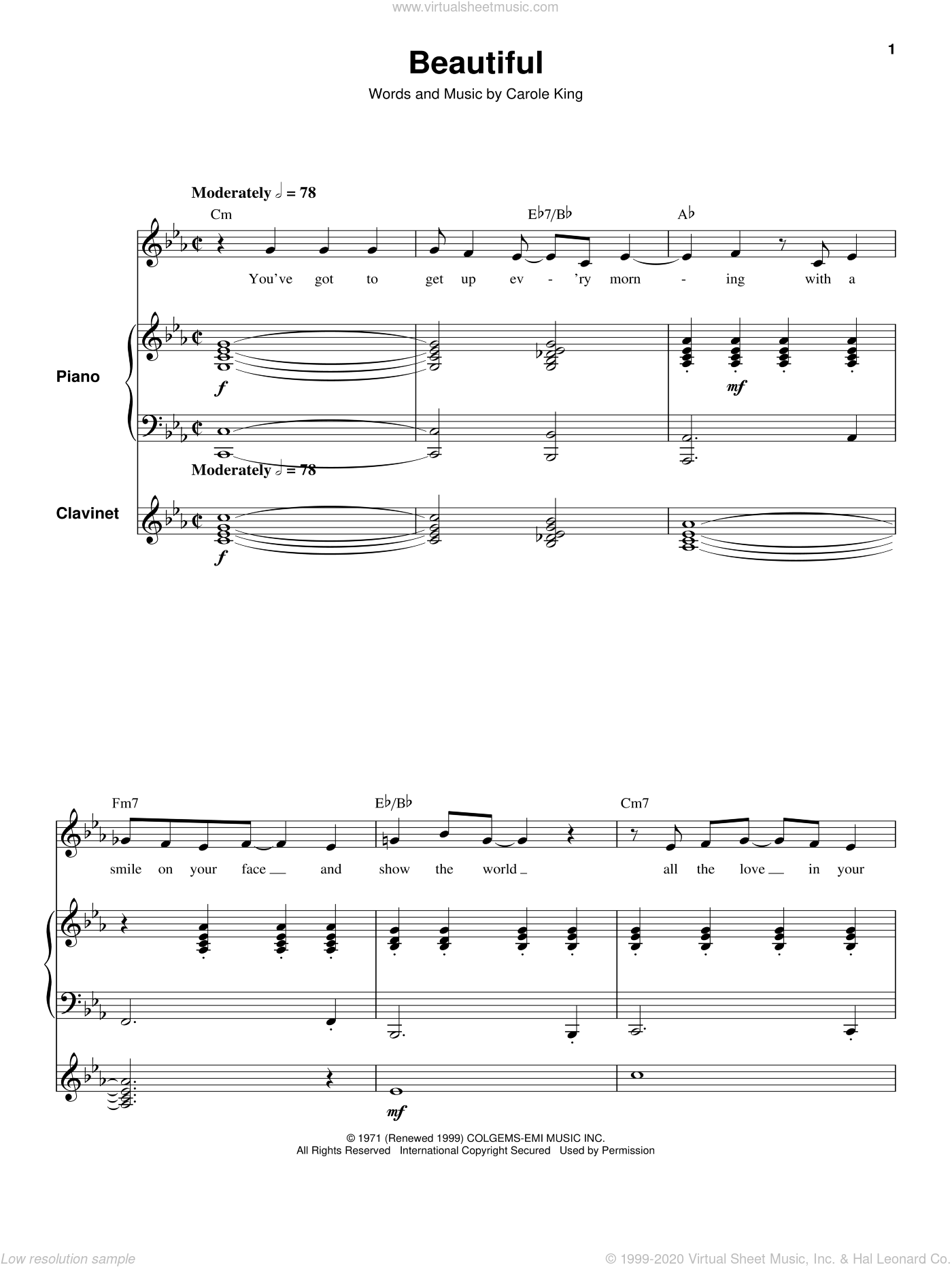 Beautiful sheet music for keyboard or piano by Carole King. Score Image Preview.