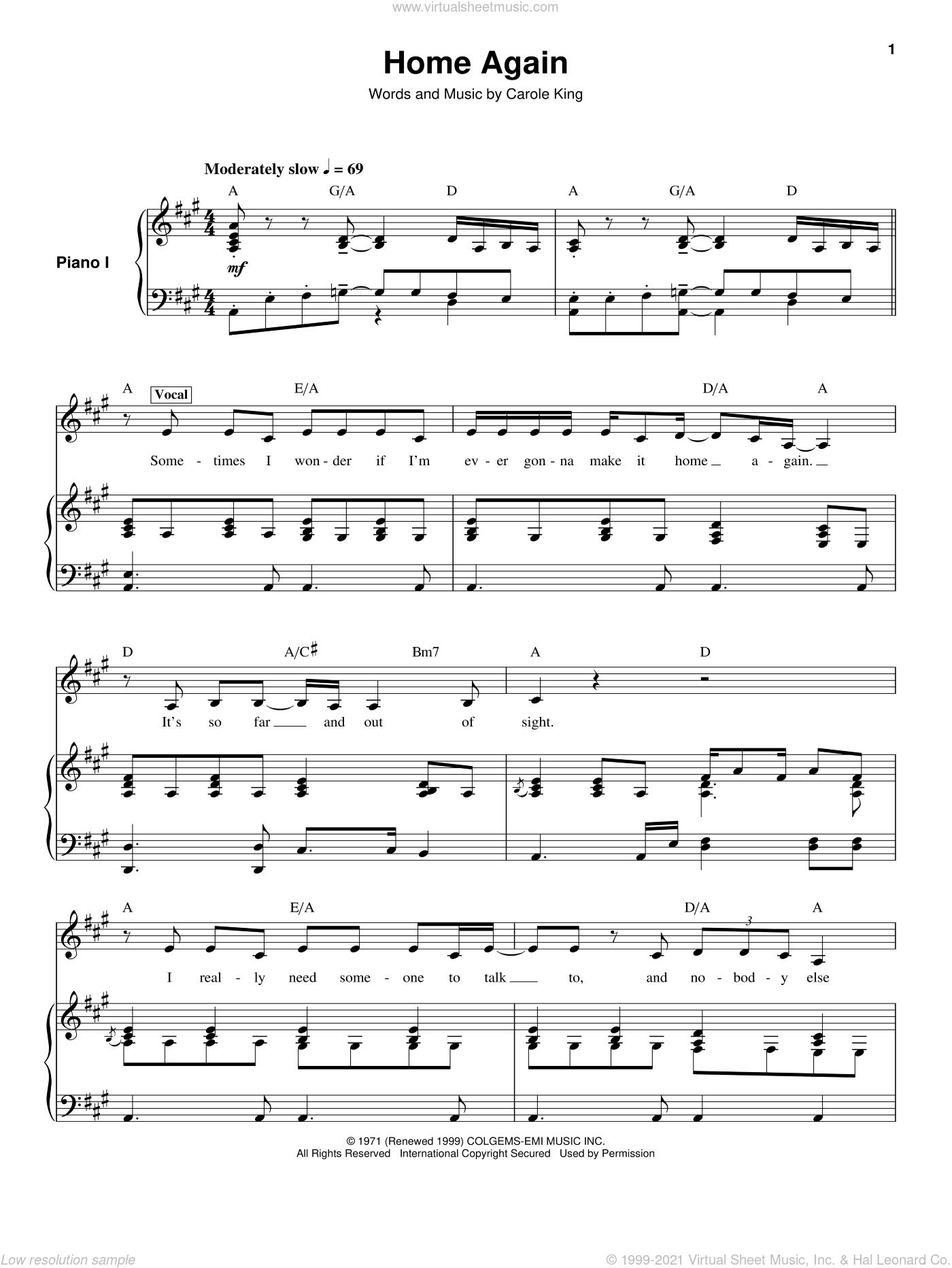 Home Again sheet music for keyboard or piano by Carole King, intermediate skill level