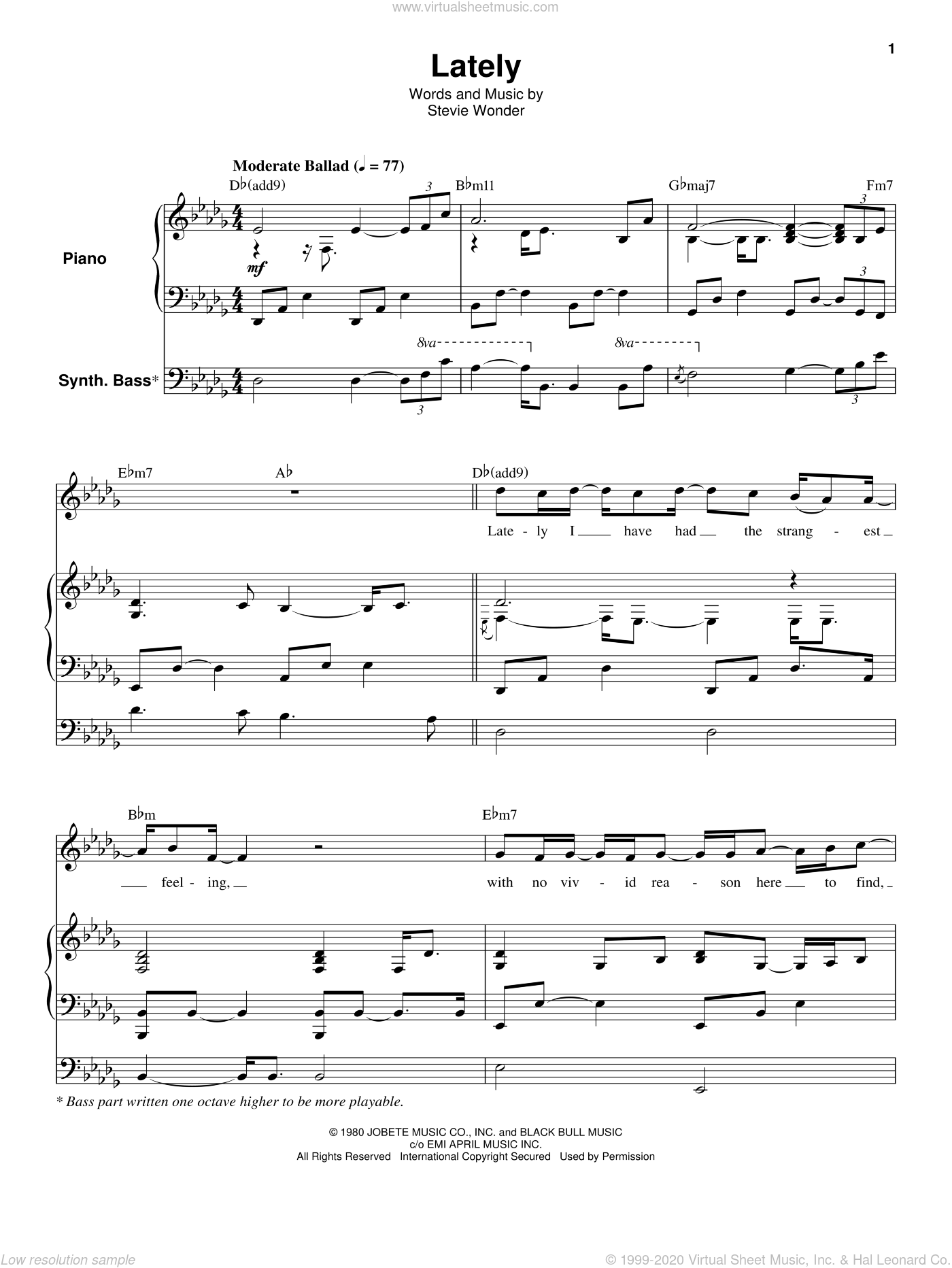 Lately sheet music for keyboard or piano by Stevie Wonder, intermediate skill level