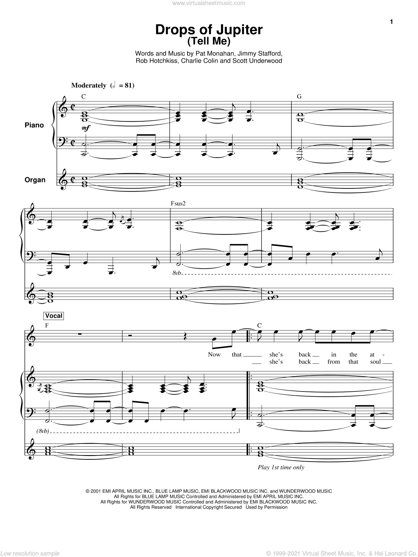 Drops Of Jupiter (Tell Me) sheet music for keyboard or piano by Train, Charles Colin, James Stafford, Pat Monahan, Robert Hotchkiss and Scott Underwood, intermediate skill level