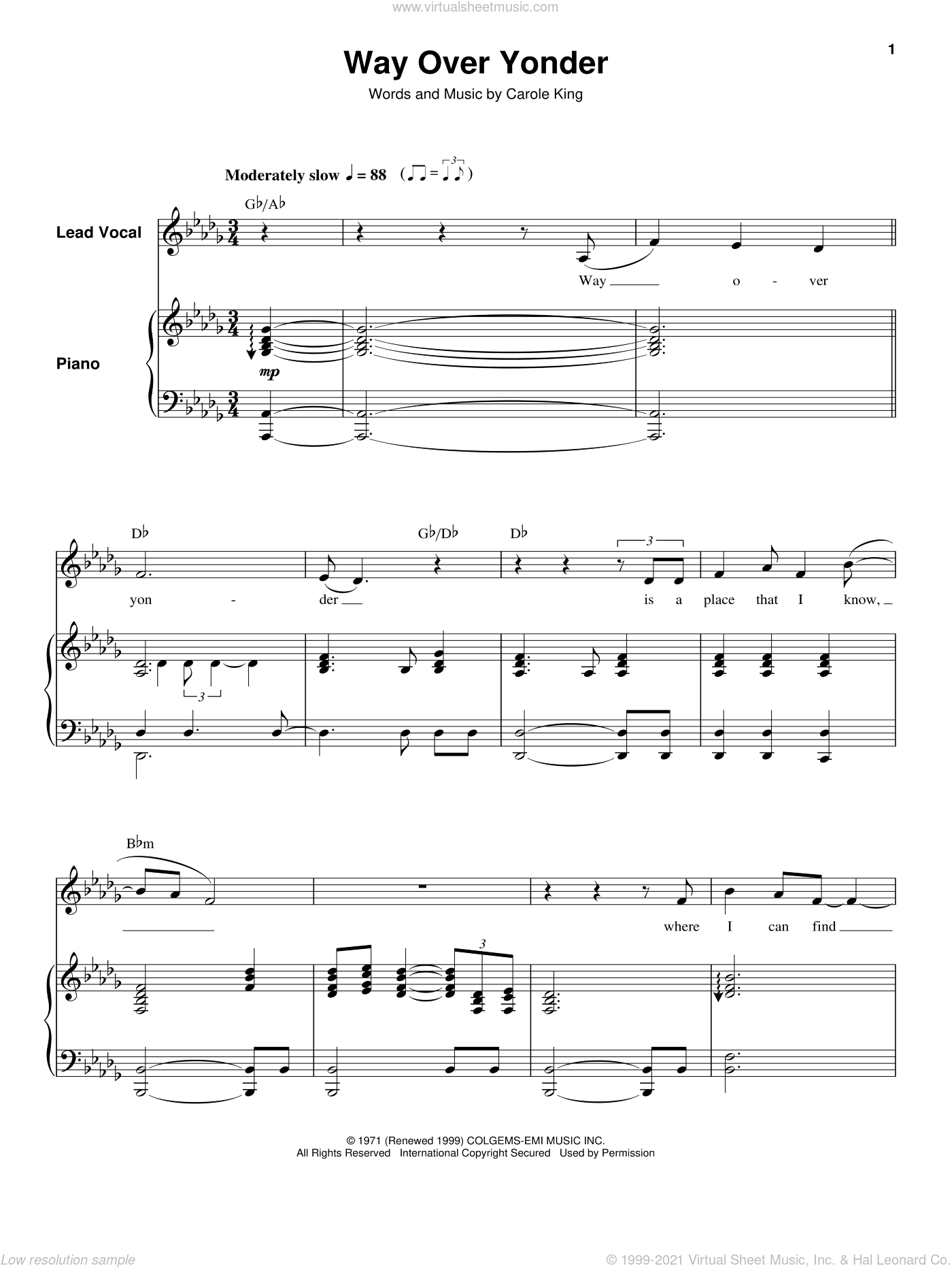 Way Over Yonder sheet music for keyboard or piano by Carole King, intermediate. Score Image Preview.