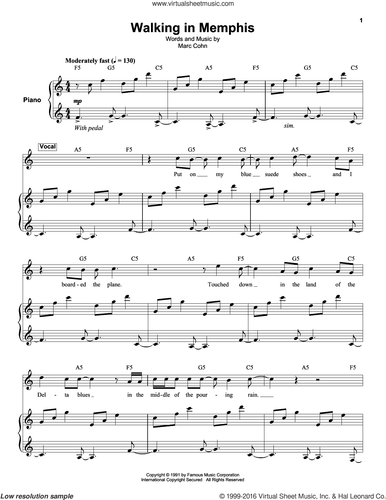 Walking In Memphis sheet music for keyboard or piano by Marc Cohn and Lonestar, intermediate skill level