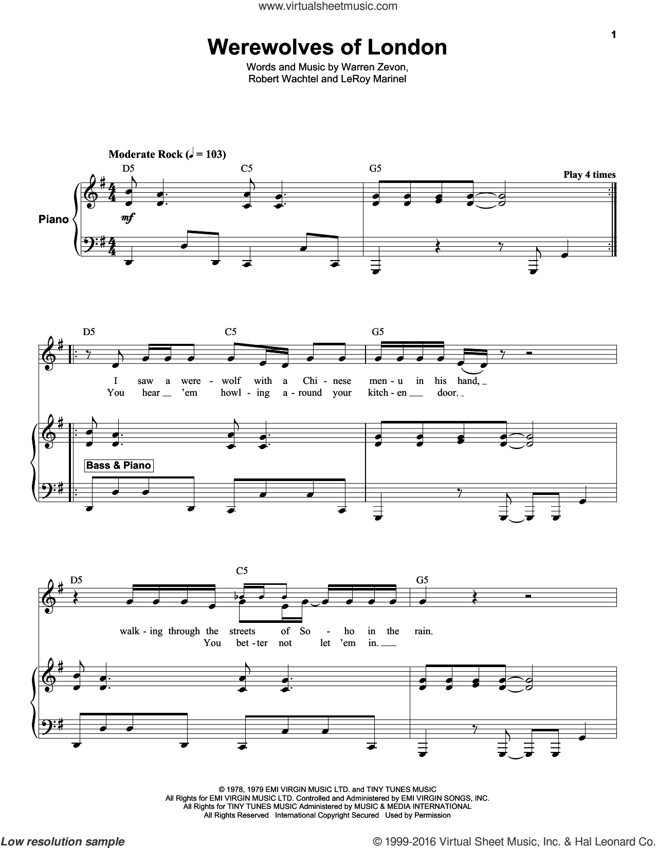 Werewolves Of London sheet music for keyboard or piano by Warren Zevon, Leroy Marinell and Waddy Wachtel, intermediate skill level