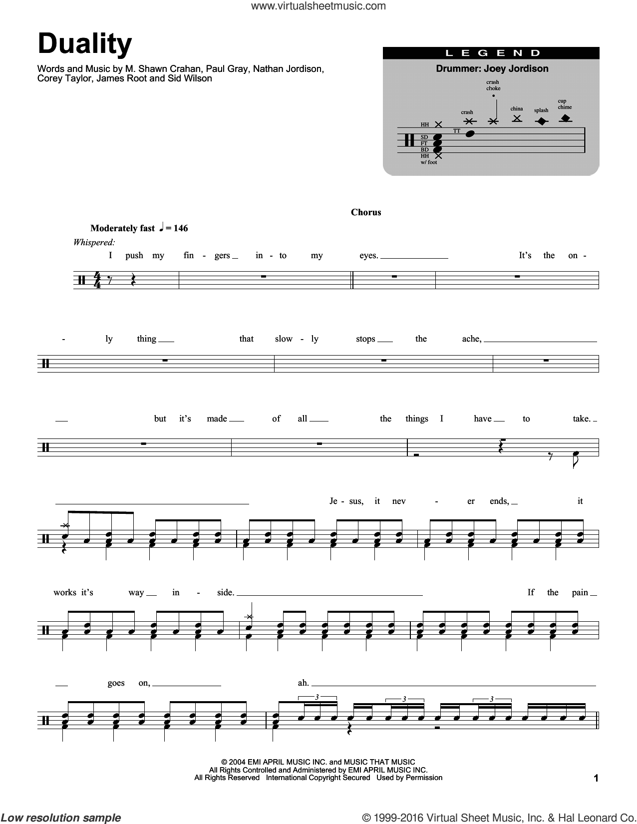 Duality sheet music for drums by Slipknot, Corey Taylor, James Root, M. Shawn Crahan, Nathan Jordison, Paul Gray and Sid Wilson, intermediate skill level