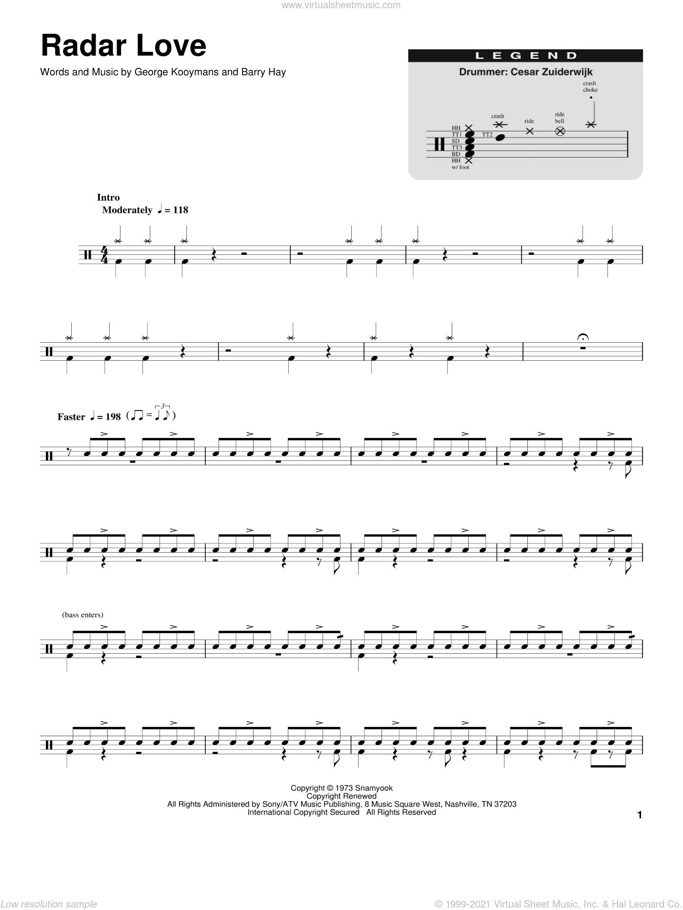 Radar Love sheet music for drums by George Kooymans and White Lion. Score Image Preview.