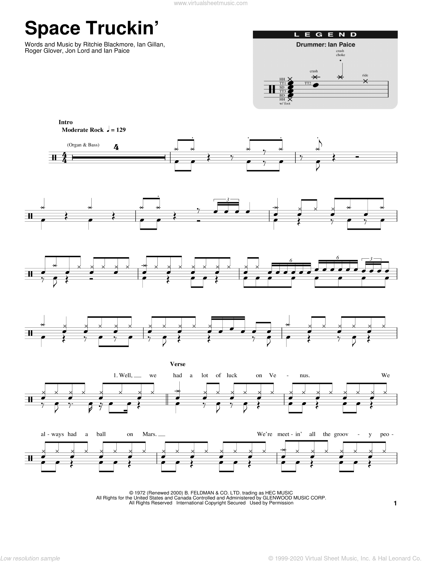 Space Truckin' sheet music for drums by Roger Glover, Deep Purple and Ian Gillan. Score Image Preview.