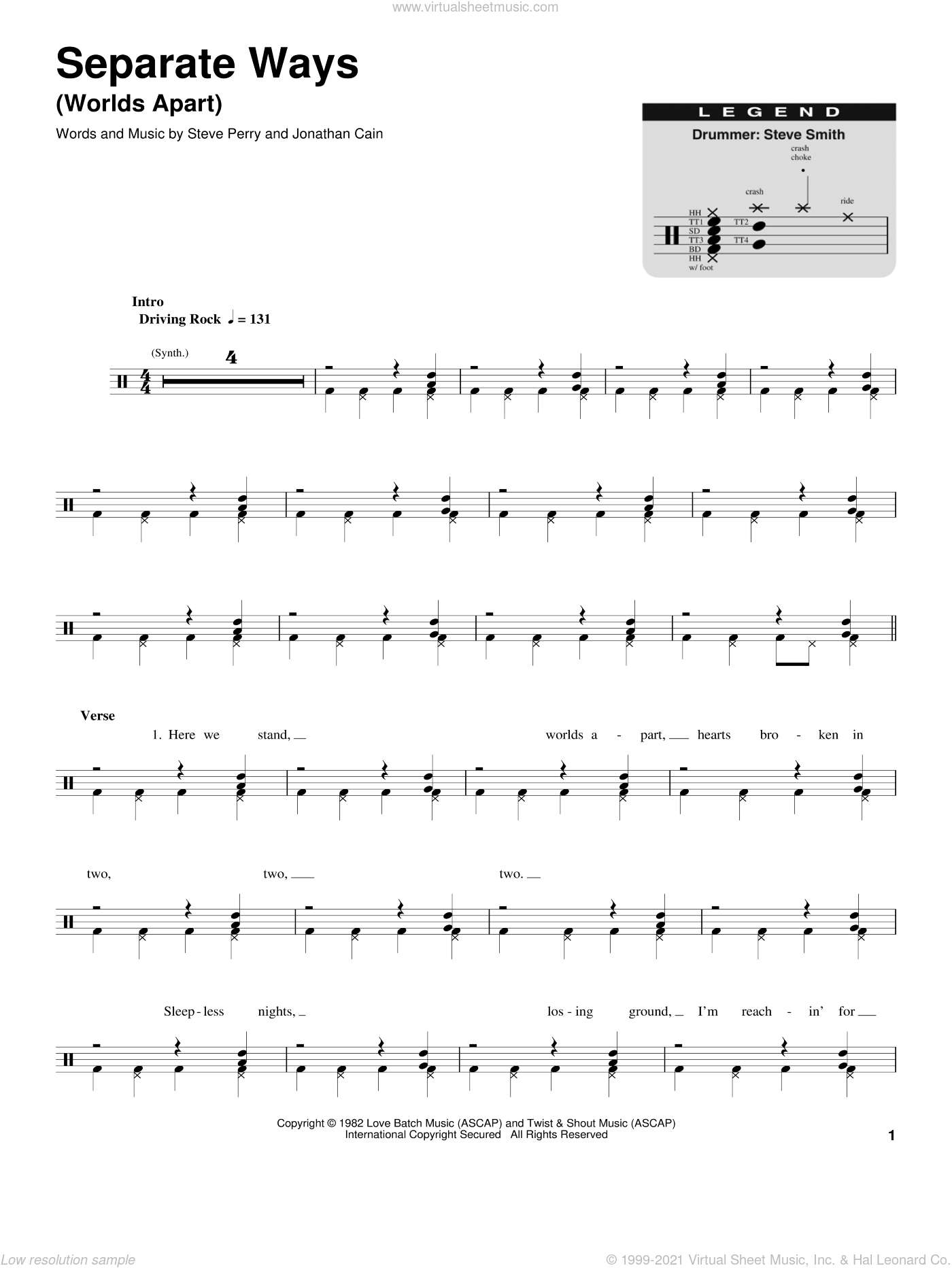 Separate Ways (Worlds Apart) sheet music for drums by Steve Perry, Journey and Jonathan Cain. Score Image Preview.