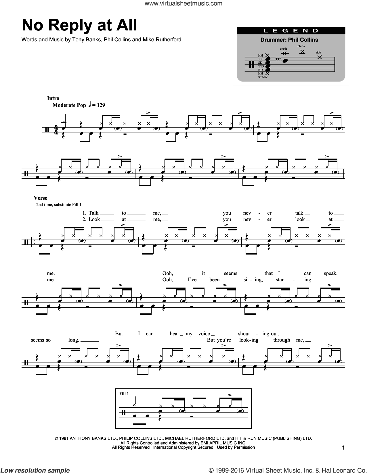 No Reply At All sheet music for drums by Tony Banks