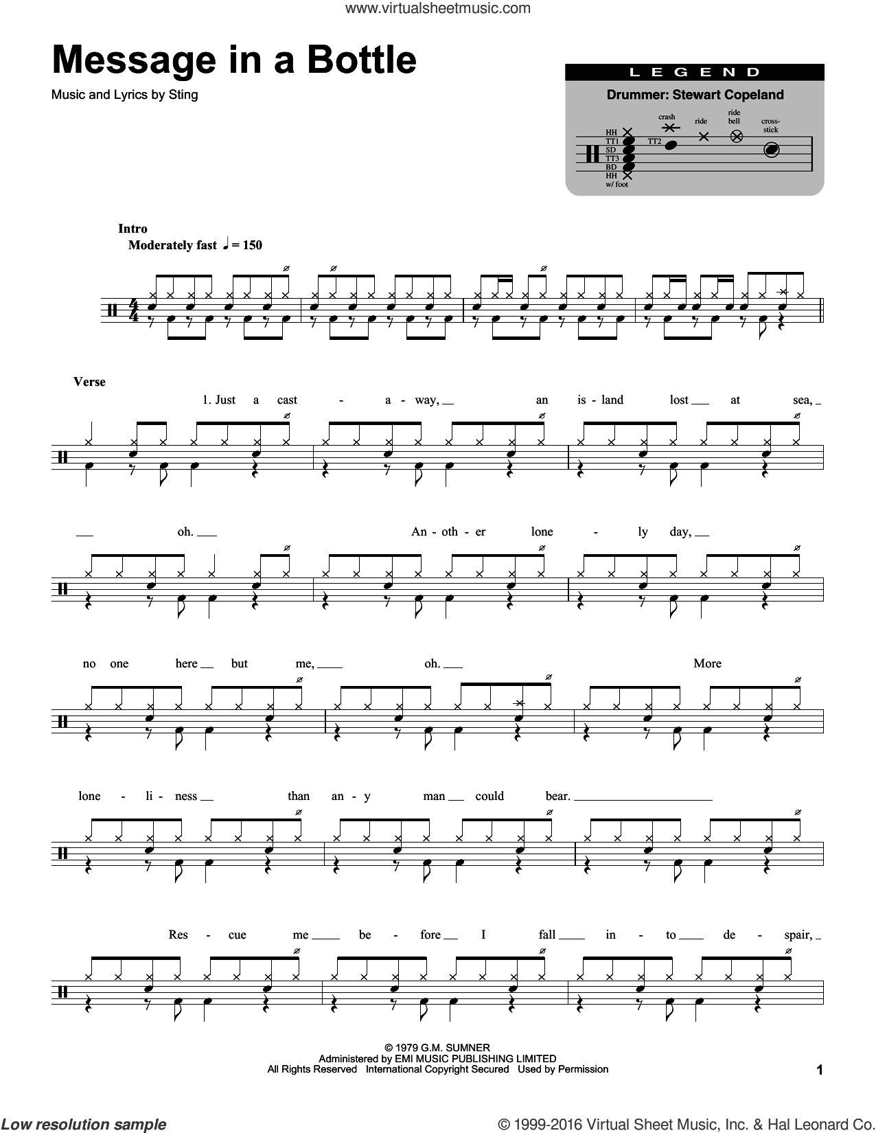 Message In A Bottle sheet music for drums by Sting and The Police. Score Image Preview.