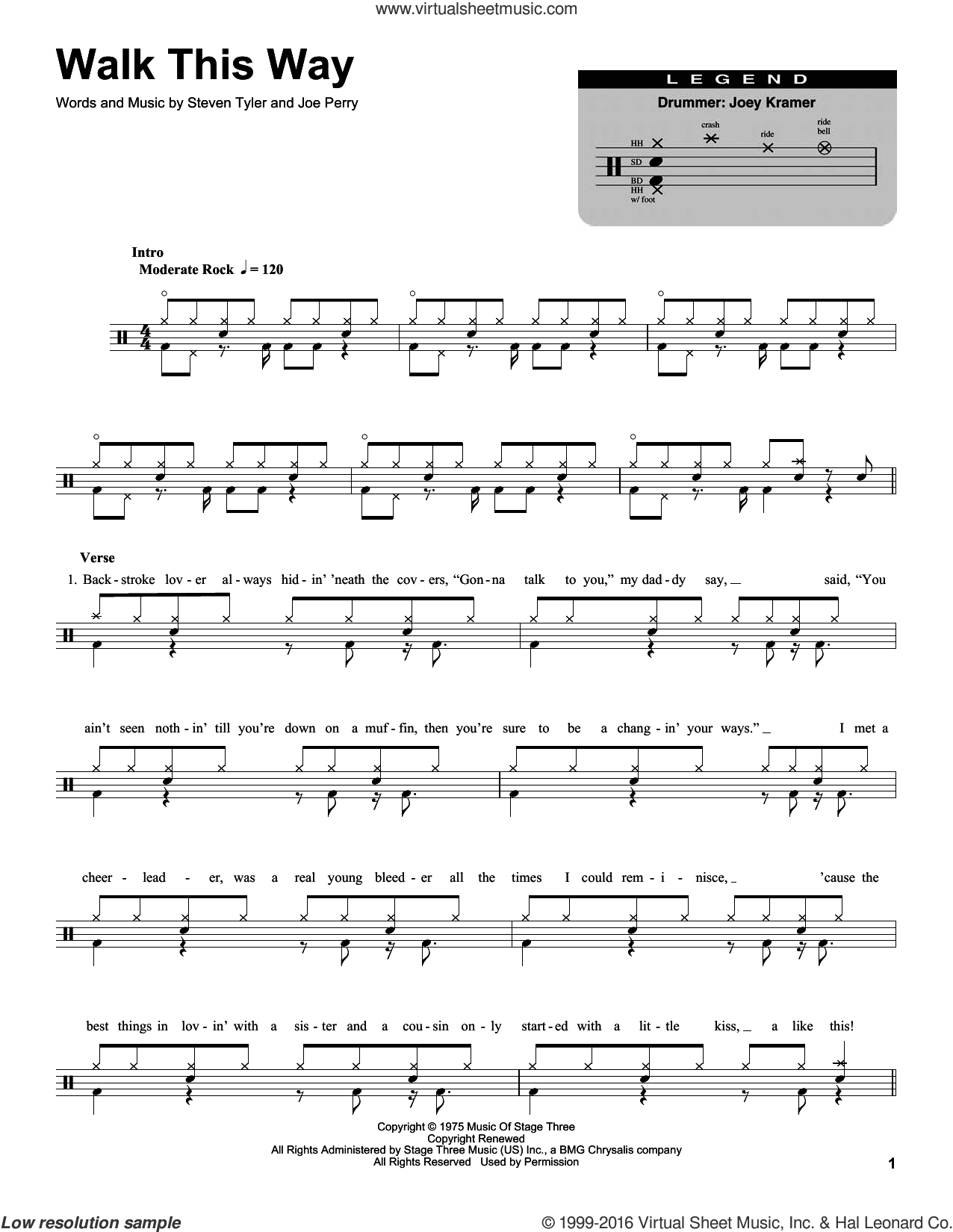 Walk This Way sheet music for drums by Aerosmith, Run D.M.C., Joe Perry and Steven Tyler, intermediate skill level