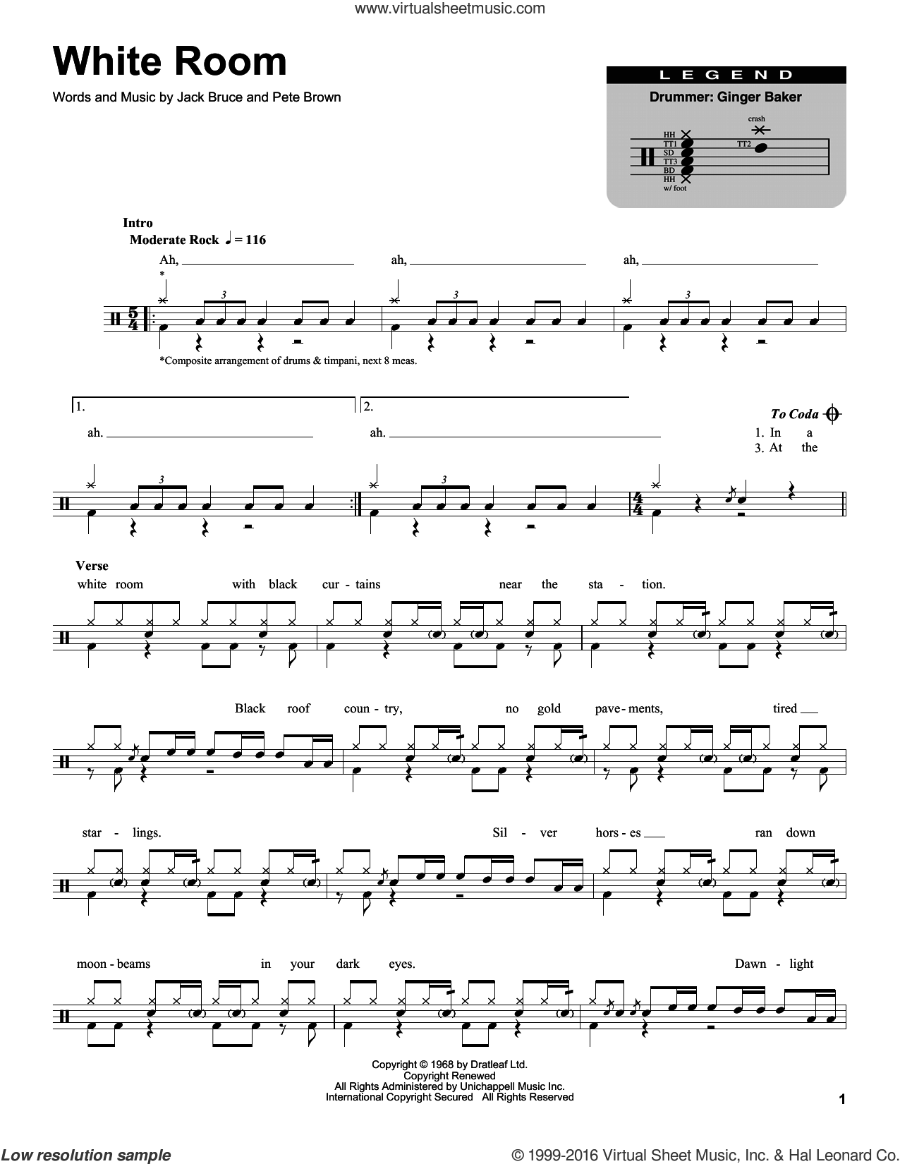 White Room sheet music for drums by Pete Brown, Cream and Jack Bruce. Score Image Preview.