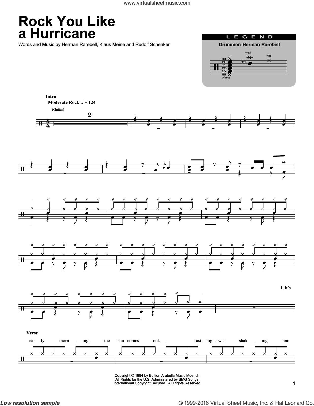 Rock You Like A Hurricane sheet music for drums by Rudolf Schenker, Scorpions and Klaus Meine. Score Image Preview.