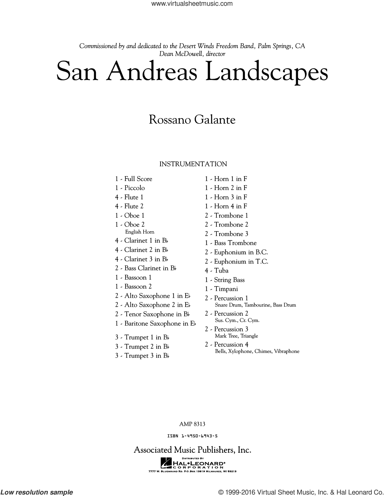 San Andreas Landscapes sheet music for concert band (full score) by Rossano Galante, intermediate concert band (full score). Score Image Preview.