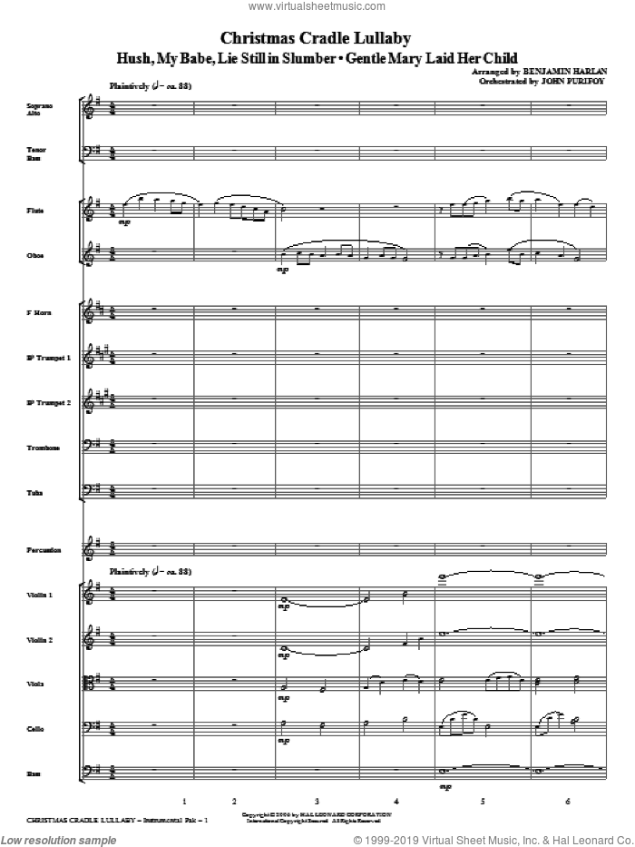 Christmas Cradle Lullaby sheet music for orchestra/band (full score) by Benjamin Harlan