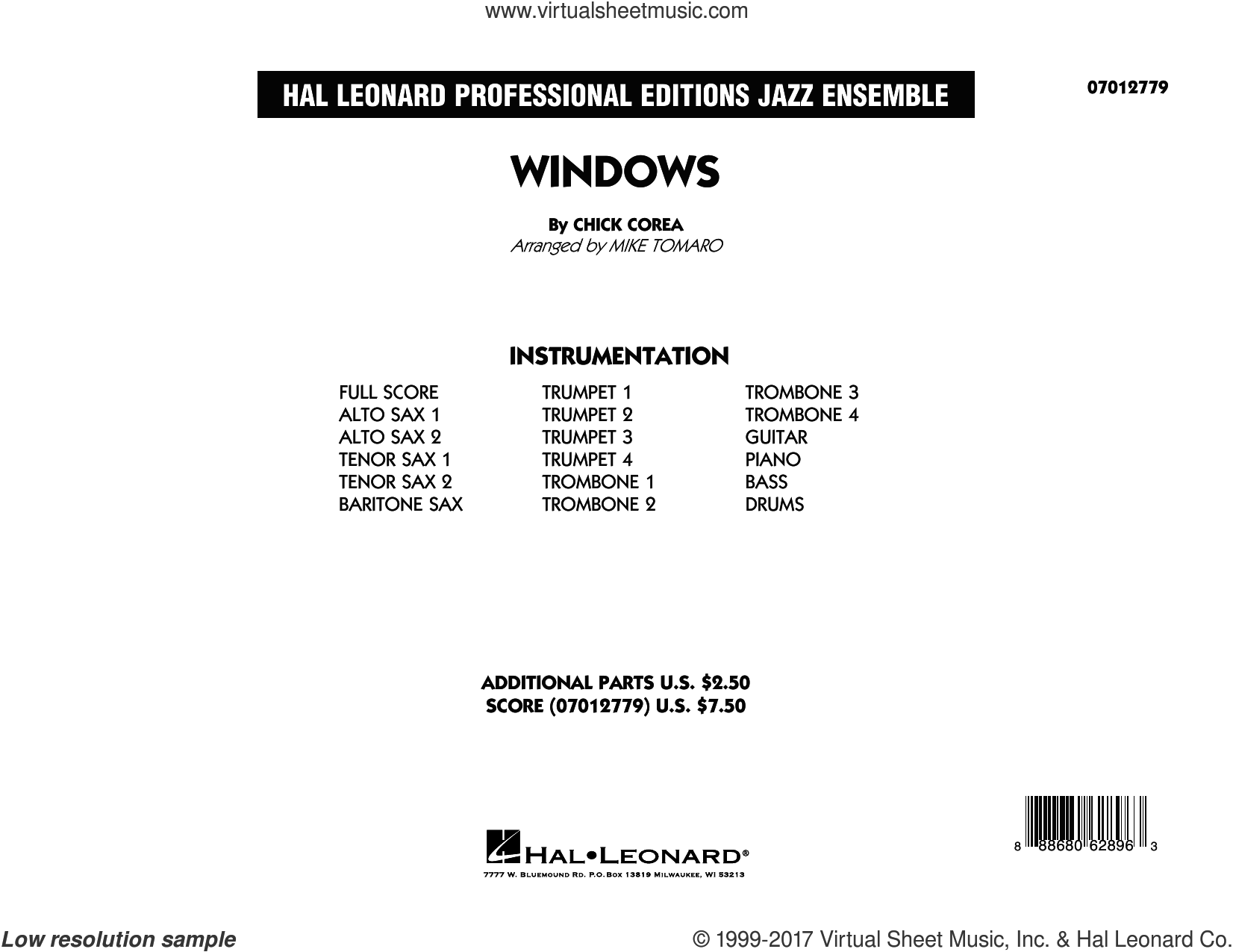 Windows (COMPLETE) sheet music for jazz band by Mike Tomaro, Chick Corea and Chick Corea Elektric Band, intermediate. Score Image Preview.