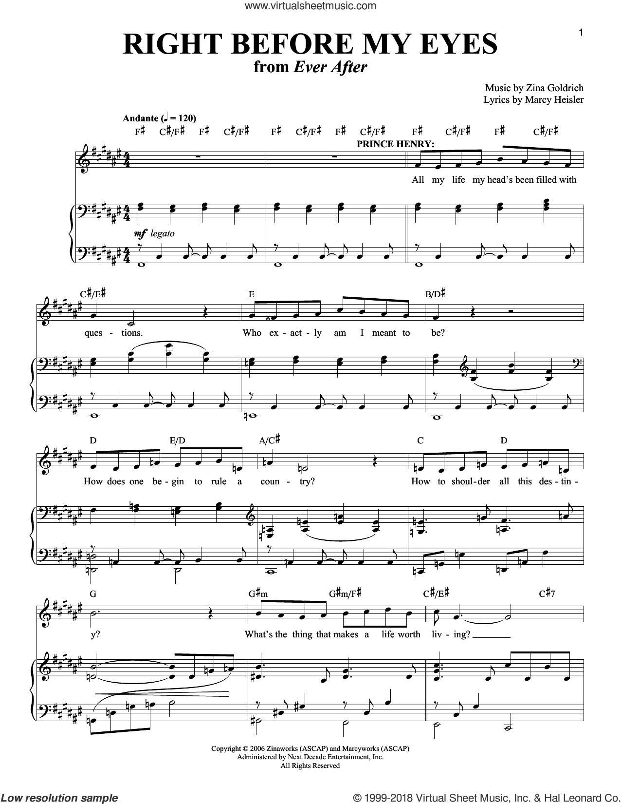 Right Before My Eyes sheet music for voice and piano by Goldrich & Heisler, Marcy Heisler and Zina Goldrich, intermediate skill level