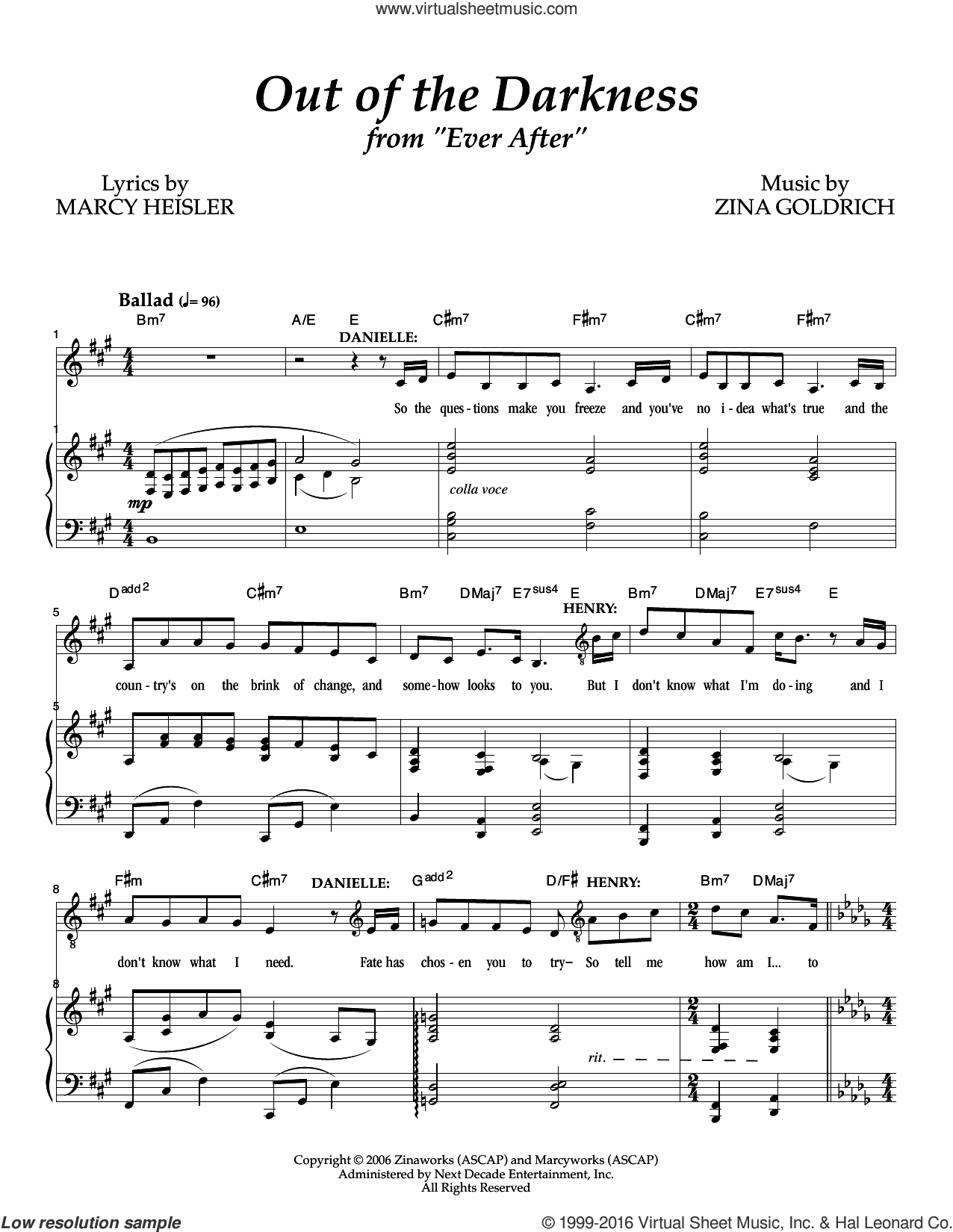 Out Of The Darkness sheet music for voice and piano by Goldrich & Heisler, Marcy Heisler and Zina Goldrich, intermediate