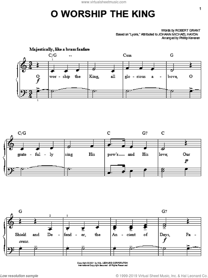 O Worship The King, (easy) sheet music for piano solo by Robert Grant, Phillip Keveren and Johann Michael Haydn, easy skill level