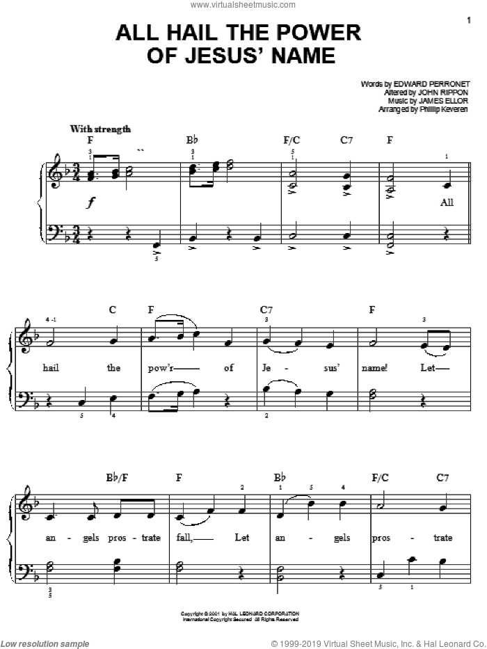 All Hail The Power Of Jesus' Name sheet music for piano solo by Edward Perronet, Phillip Keveren, James Ellor and John Rippon, wedding score, easy