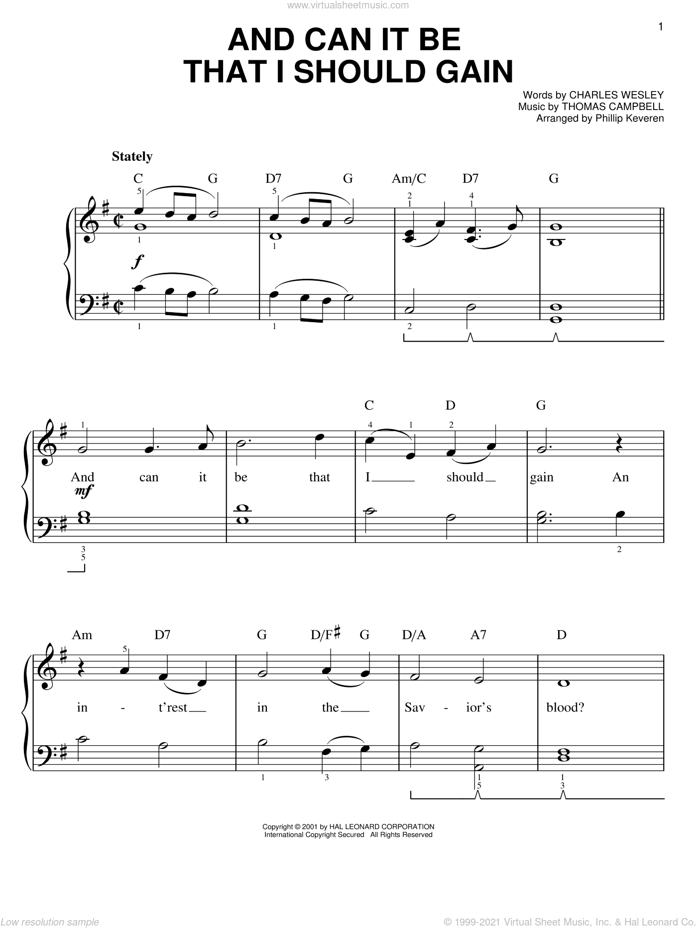 And Can It Be That I Should Gain sheet music for piano solo by Charles Wesley, Phillip Keveren and Thomas Campbell, easy skill level