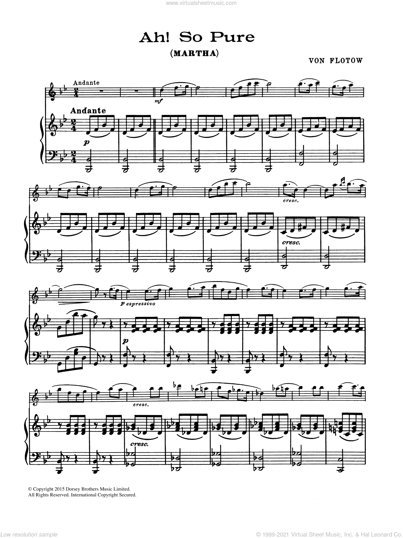 Ah! So Pure sheet music for flute solo by Friedrich von Flotow. Score Image Preview.