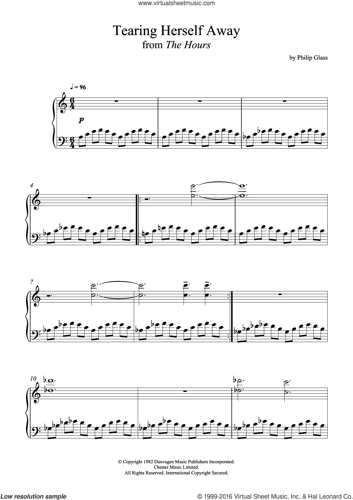 Tearing Herself Away (from 'The Hours') sheet music for piano solo by Philip Glass. Score Image Preview.