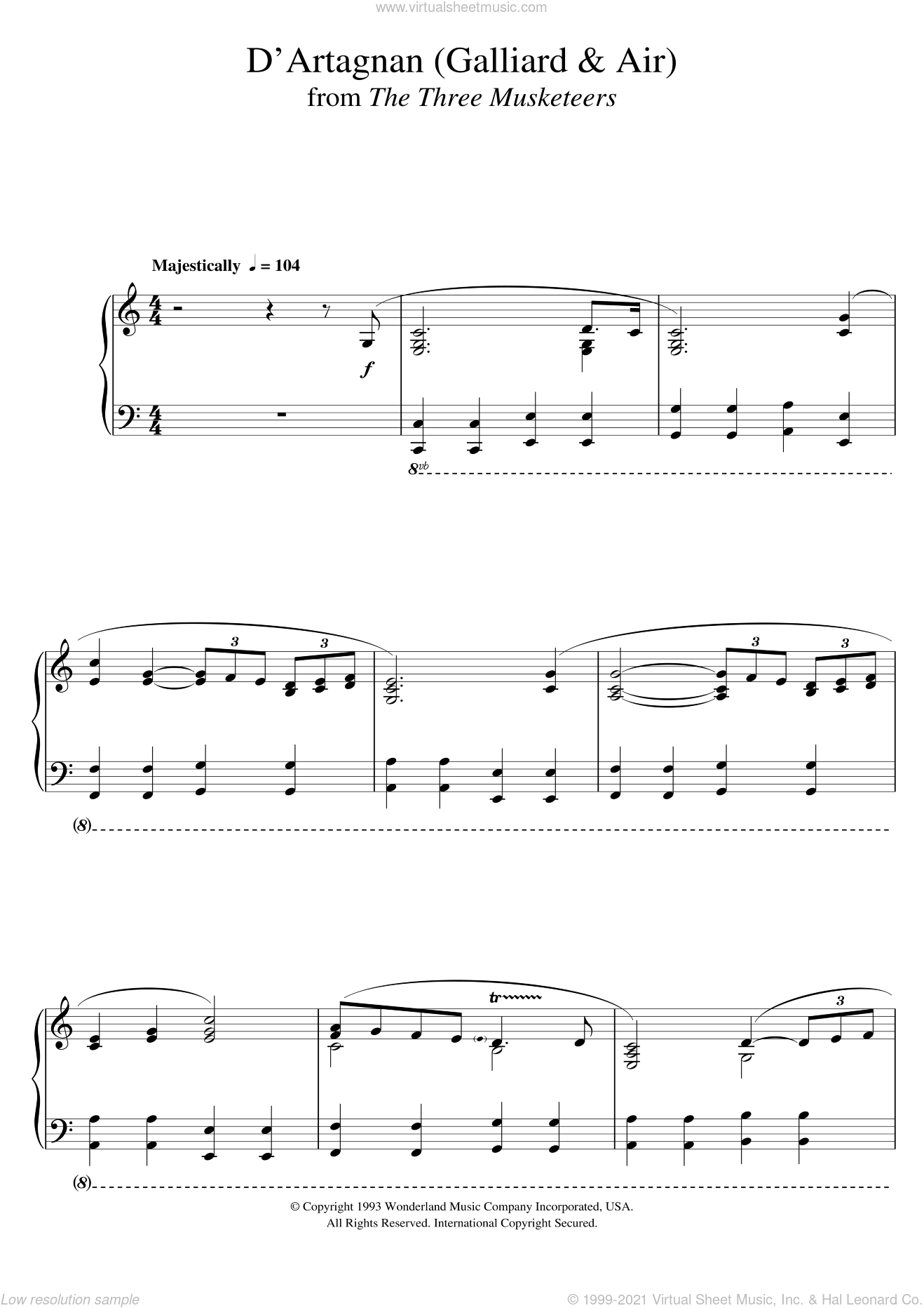 The Three Musketeers (D'Artagnan (Galliard and Air)) sheet music for piano solo by Michael Kamen, intermediate skill level
