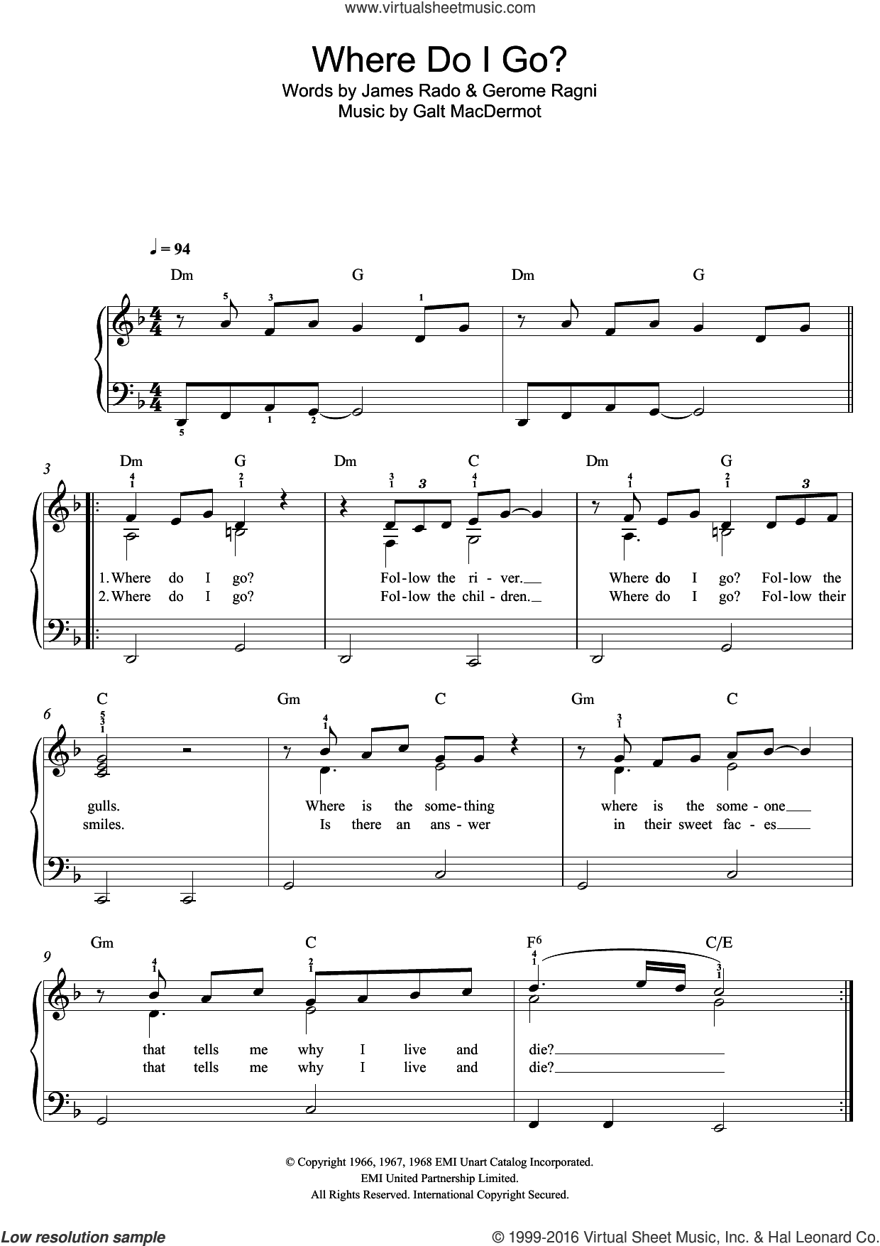 Where Do I Go? (from 'Hair') sheet music for piano solo by Galt MacDermot, Gerome Ragni and James Rado, easy skill level