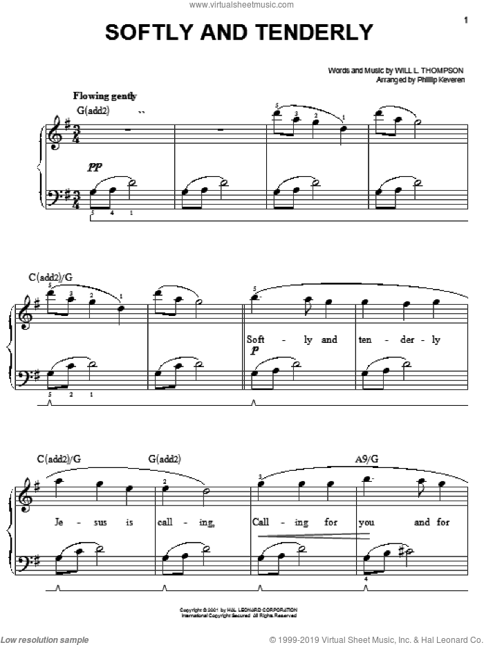 Softly And Tenderly sheet music for piano solo by Will L. Thompson and Phillip Keveren, easy skill level