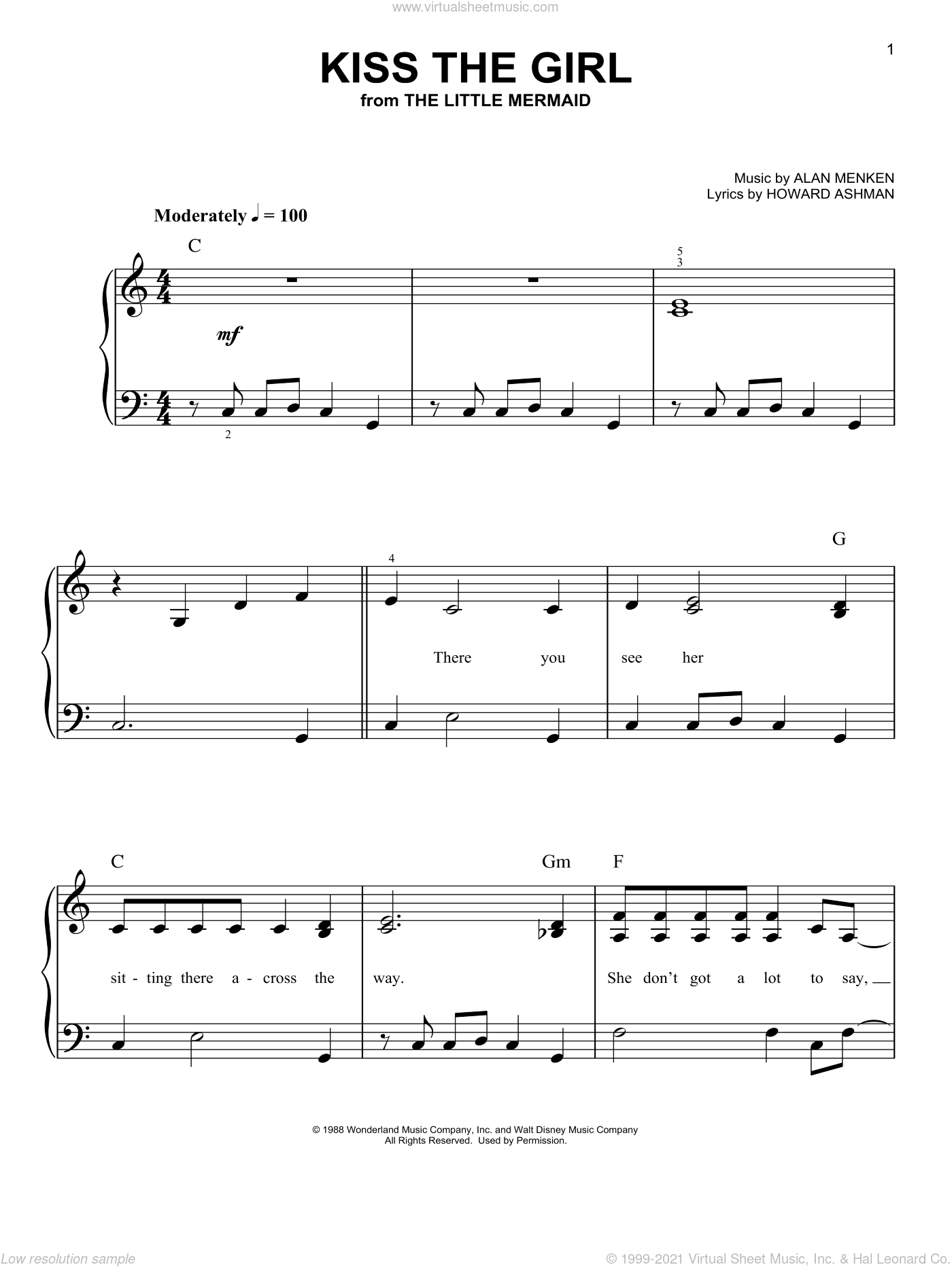 Kiss The Girl sheet music for piano solo by Alan Menken and Howard Ashman. Score Image Preview.