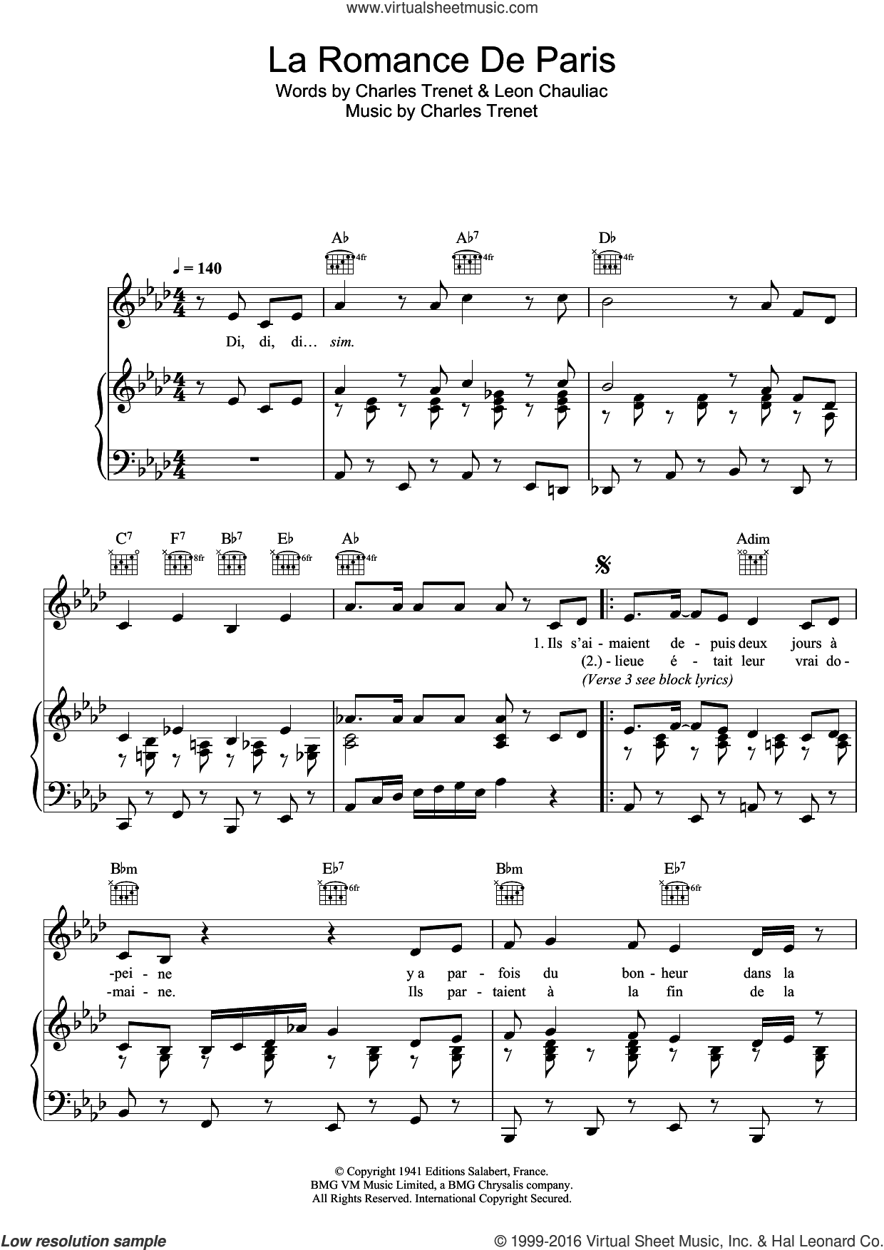 La Romance De Paris sheet music for voice, piano or guitar by Zaz, Charles Trenet and Leon Chauliac, intermediate skill level