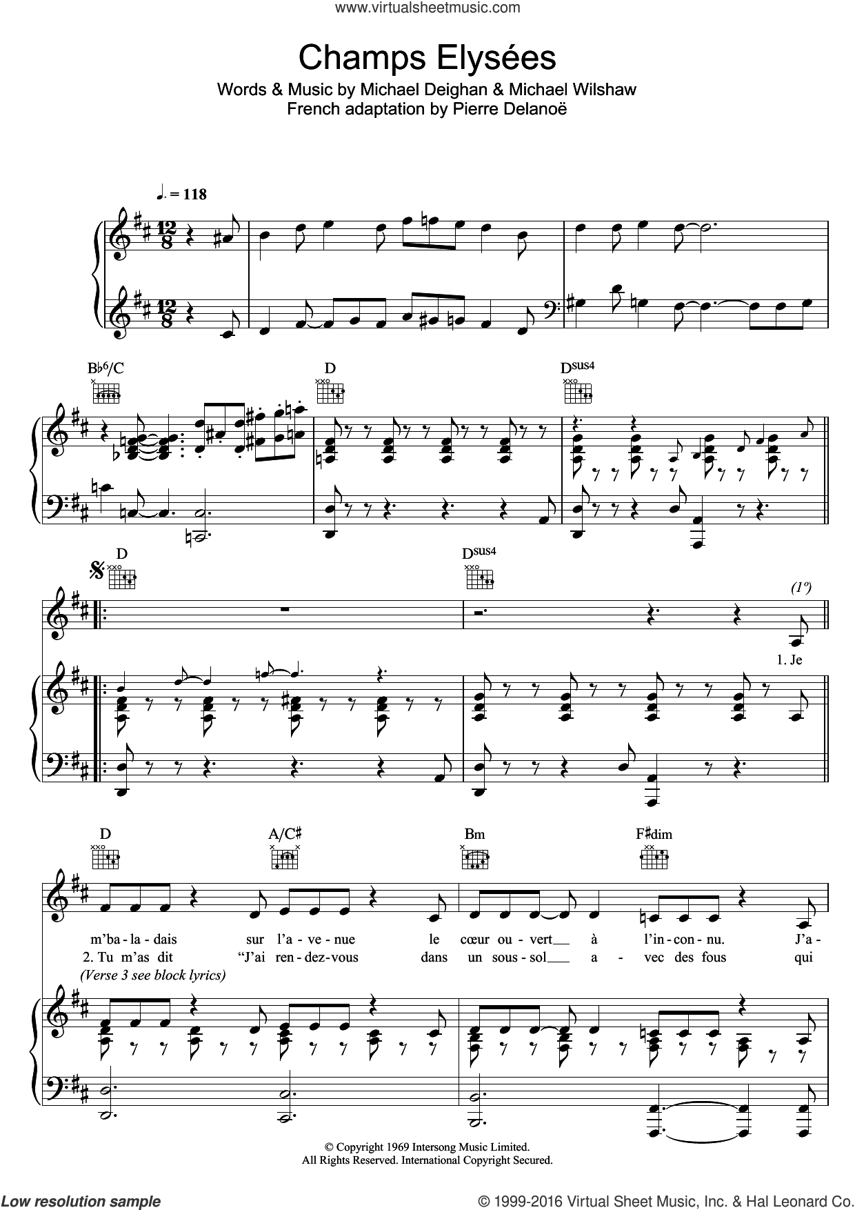 Champs Elysees sheet music for voice, piano or guitar by Michael Wilshaw and Michael Deighan. Score Image Preview.