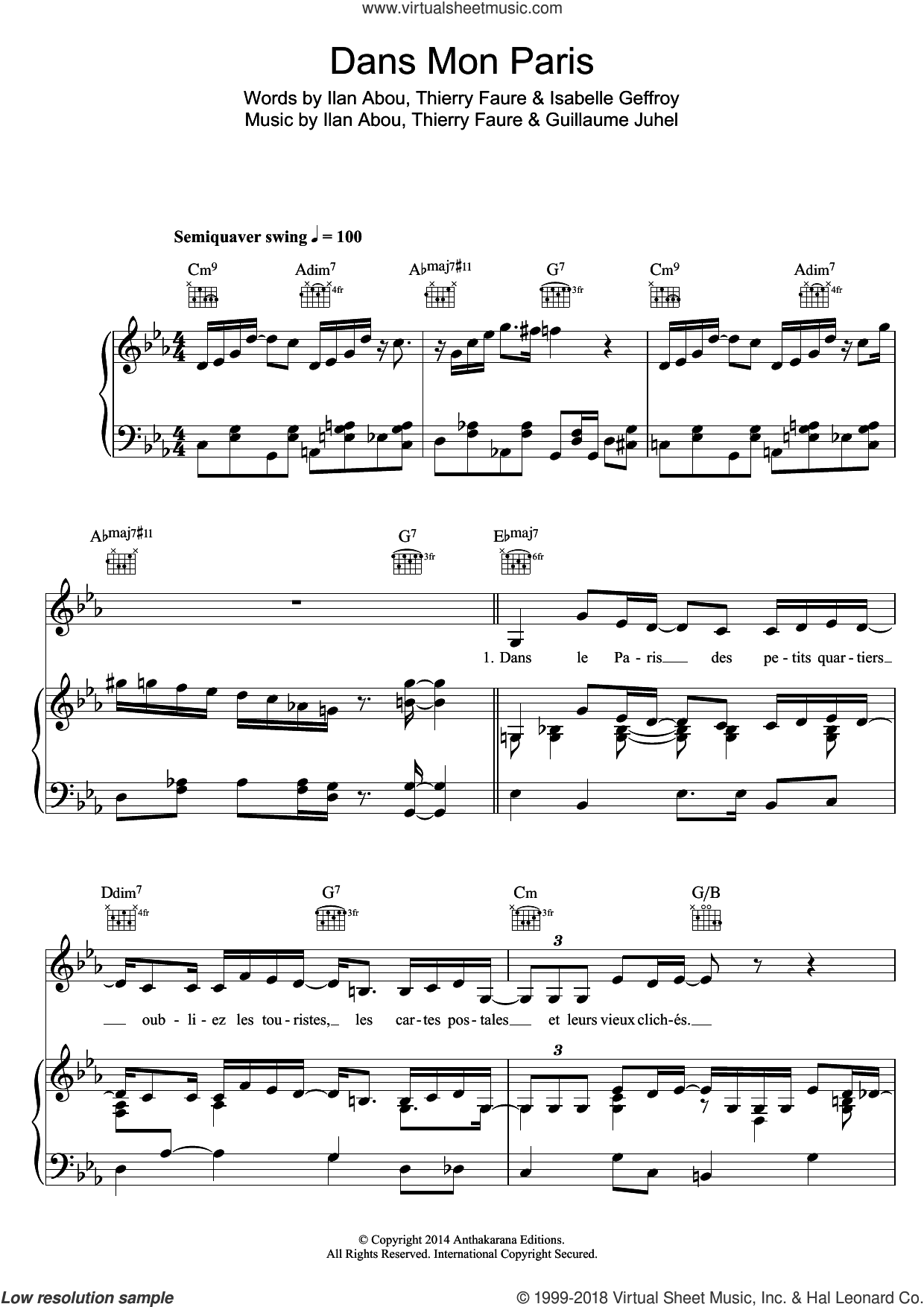 Dans Mon Paris (Swing Manouche Version) sheet music for voice, piano or guitar by Zaz, Guillaume Juhel, Ilan Abou, Isabelle Geffroy and Thierry Faure, intermediate skill level