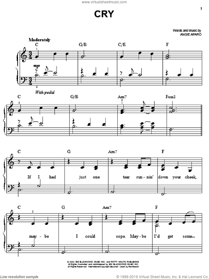 Cry sheet music for piano solo by Faith Hill and Angie Aparo, easy skill level