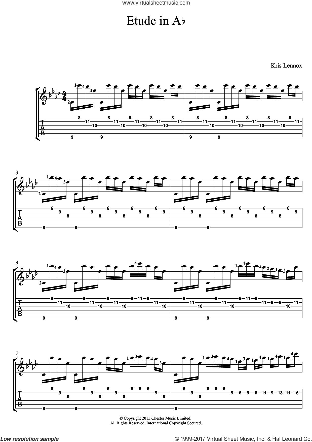Etude In A Flat sheet music for guitar (tablature) by Kris Lennox, intermediate skill level
