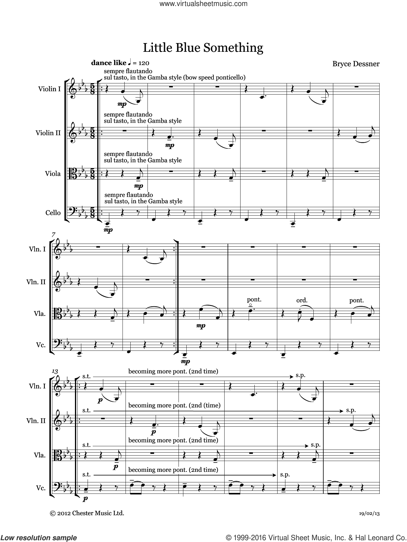 Little Blue Something (String quartet score and parts) sheet music for string orchestra by Bryce Dessner. Score Image Preview.